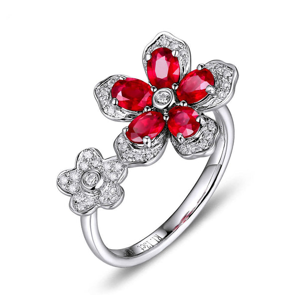 Ruby Engagement Ring - Ruby Floral Ring  1.35cttw. Oval Rubies Ruby set in a 14k White Gold Diamond Floral Setting - In The IceBox
