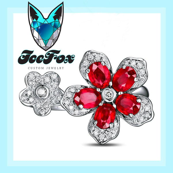 Ruby Engagement Ring - Ruby Floral Ring  1.35cttw. Oval Rubies Ruby set in a 14k White Gold Diamond Floral Setting - The IceFox