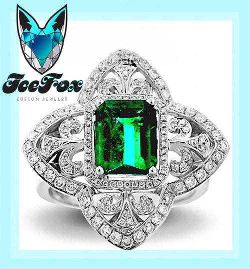 Emerald - Engagement Ring 8 x 6mm 1.9ct Cultured Emerald in a 14k White Gold Diamond Fleur de lis Halo Setting - The IceFox