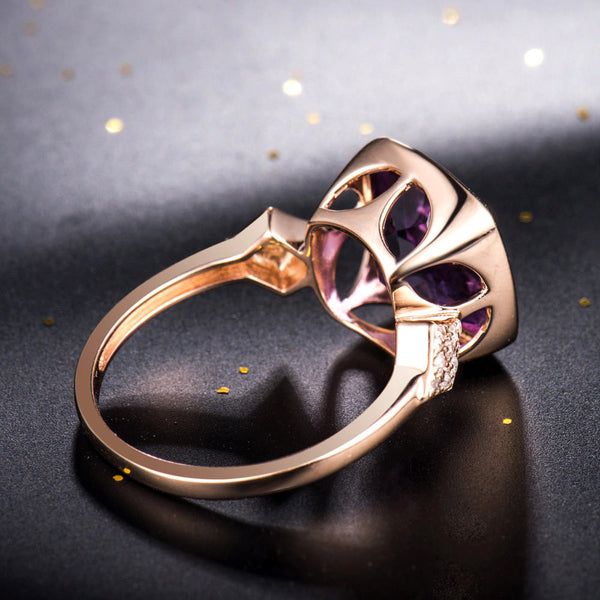 Amethyst Engagement Ring 3.7ct, 10mm Cushion Cut Amethyst  in a 14k Rose Gold Diamond bezel setting - In The IceBox