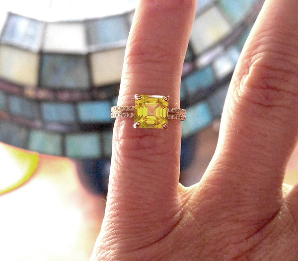 Sapphire - 7mm Cultured Asscher Cut Yellow Sapphire Engagement  Ring - In The IceBox