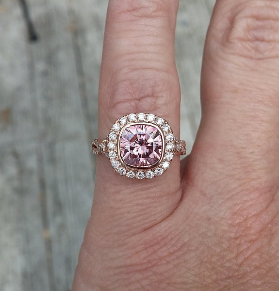 Moissanite Engagement Ring - 7.5mm, 2ct Cushion Cut Peachy Pink Moissanite - In The IceBox
