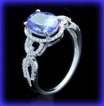 Oval Tanzanite in a 14K White Gold Halo, Eternity Link setting, engagement ring - In The IceBox