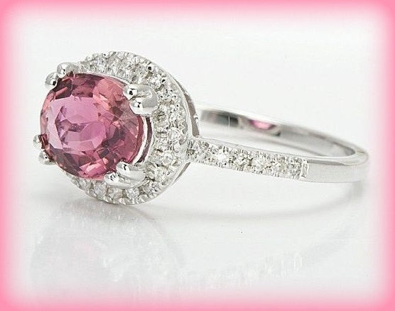 Tourmaline Engagement Ring 1.5ct side set Oval set in a 14k White gold diamond halo setting