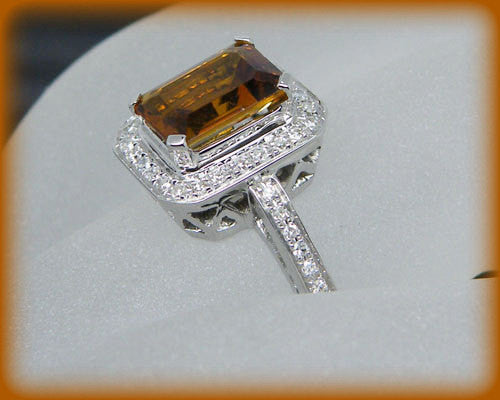 Tourmaline Engagement Ring. 2ct Emerald Cut Whiskey Tourmaline in a 14k White Gold Diamond Halo Setting