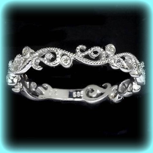 Vintage Floral Milgrain 14k White Gold Wedding Band, Anniversary Band, Eternity Band - In The IceBox