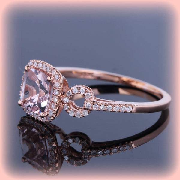 Morganite - Cushion Cut Morganite Engagement Ring in Diamond Halo Setting 14k Rose Gold - In The IceBox