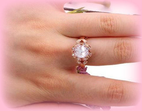 Morganite Engagement Ring 7mm x 9mm Oval Morganite or Hot Pink Sapphire  Diamond Leaf Halo Setting 14K Rose Gold - In The IceBox