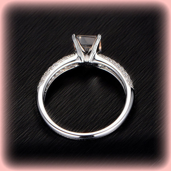 Morganite Engagement Ring 1.2ct Asscher Cut Morganite Solitaire in 14k White Gold Diamond Setting - In The IceBox