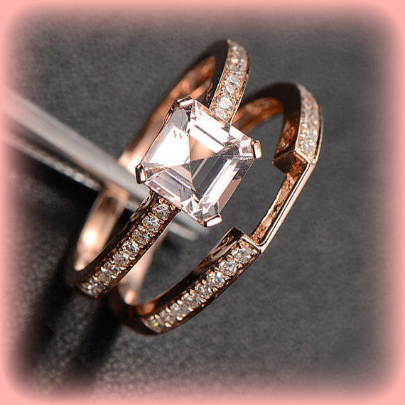 Morganite Engagement Ring 1.3ct  Asscher Cut Morganite in 14k Rose Gold Diamond Solitaire Setting with Matching Diamond Band - In The IceBox