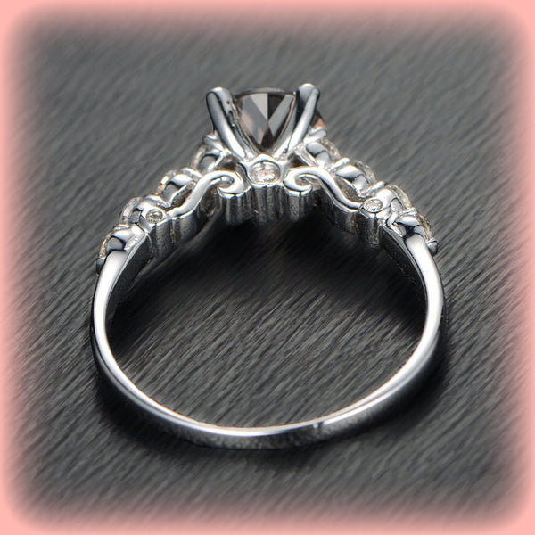 Morganite Engagement Ring 1.25 Round Morganite Solitaire in 14k White Gold Diamond Scrollwork Setting