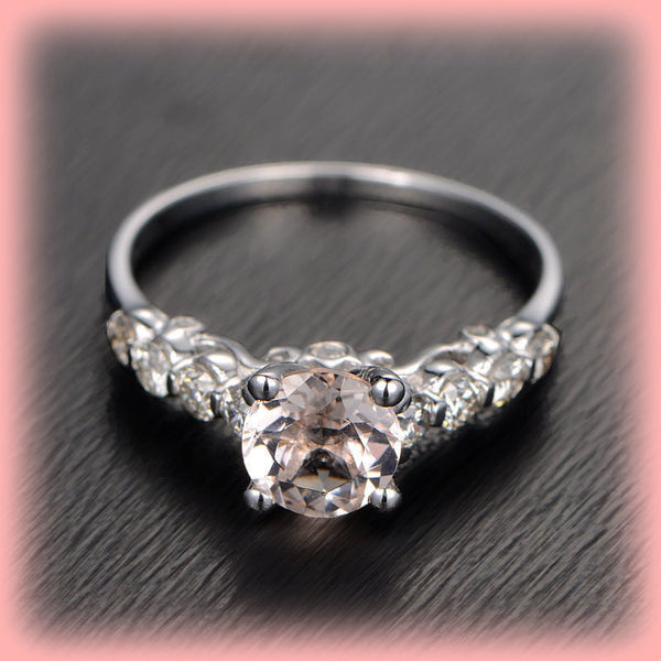 Morganite Engagement Ring 1.25 Round Morganite Solitaire in 14k White Gold Diamond Scrollwork Setting - The IceFox