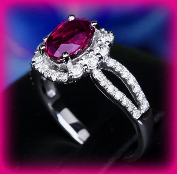 Vintage Tourmaline Engagement Ring 1.3ct Oval Rubellite in a 14K White Gold Diamond Halo Split Shank Setting