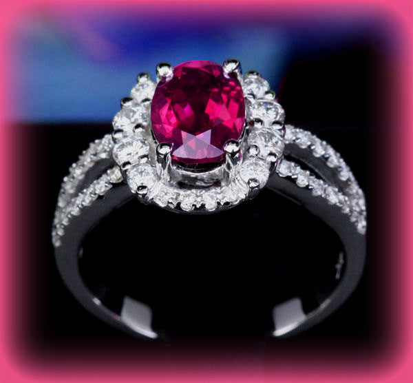 Tourmaline Engagement Ring 1.3ct Oval Rubellite in a 14K White Gold Diamond Halo Split Shank Setting - In The IceBox