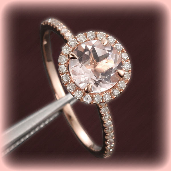 Morganite Engagement Ring 1.2ct Round in a 14k Rose Gold Diamond Single Halo setting - The IceFox