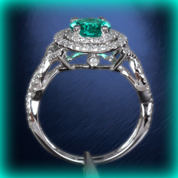 Emerald Engagement Ring Round cut set in a 14k White gold double diamond halo twist shank setting