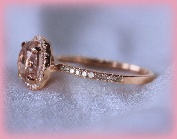 Morganite Engagement Ring Matching Diamond Band 1.15ct Round 14k Rose Gold Diamond Halo setting engagement wedding set