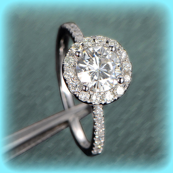 Moissanite Engagement Ring 6.5mm Round in a 14K White Gold Diamond Halo Setting - In The IceBox