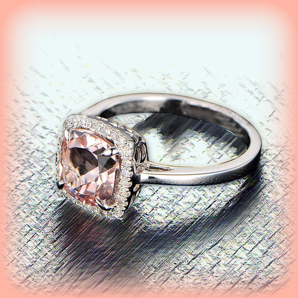 Morganite - Cushion Cut Morganite Engagement Ring in a 14k White Gold Diamond Halo setting