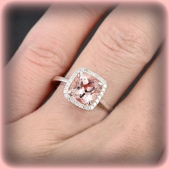 Morganite - Cushion Cut Morganite Engagement Ring in a 14k White Gold Diamond Halo setting - In The IceBox