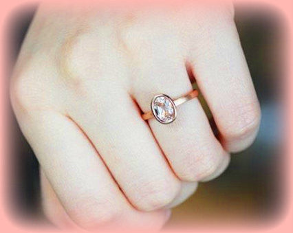 Morganite Solitaire Ring 1.4ct Oval Bezel Set Morganite Solitaire in 14k Matte Rose Gold Setting - The IceFox