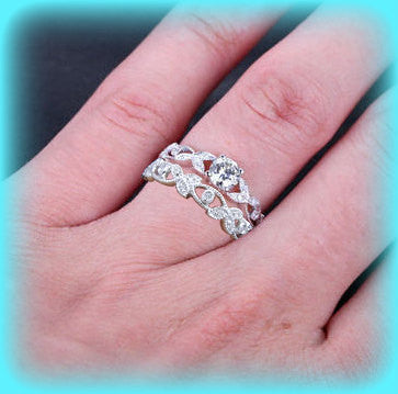 Moissanite Vintage Milgrain Engagement Ring and Band 5mm Round 14k White or Rose Gold Diamond Floral Milgrain engagement wedding set - In The IceBox
