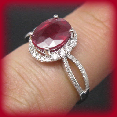 Ruby Engagement Ring 3.25ct Cultured Pigeon Blood Oval in 14k White Gold