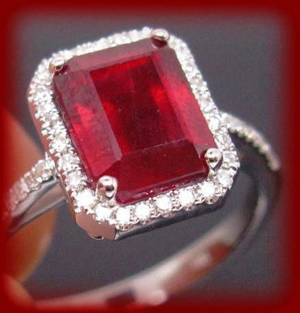 Ruby Engagement Ring 3.5ct Emerald cut cultured ruby set in an 14k White gold single diamond halo setting - In The IceBox