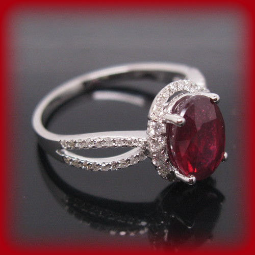 Ruby Engagement Ring 3.25ct Cultured Pigeon Blood Oval in 14k White Gold - In The IceBox