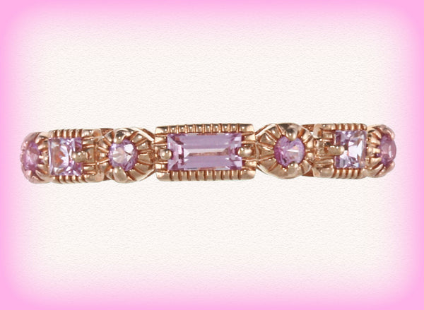 Sapphire - Pink Sapphire and 14k Rose Gold Milgrain Wedding Anniversary Eternity Band - In The IceBox