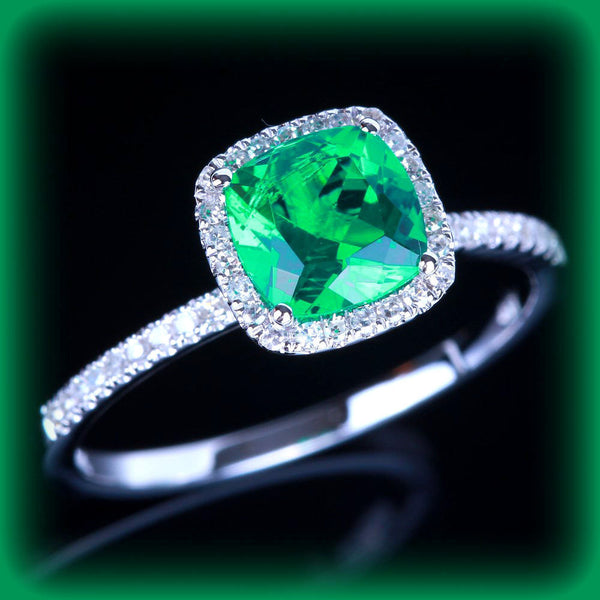 Emerald  Engagement Ring 6mm Cushion Cut set in a 14k White gold diamond halo setting - In The IceBox