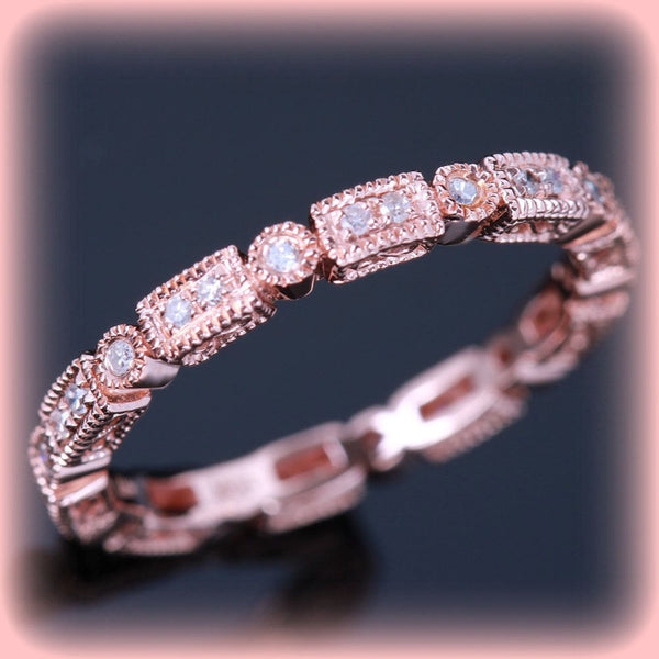 Vintage Milgrain Diamond Band 14K White Gold Ribbon Design Wedding Anniversary Eternity - In The IceBox