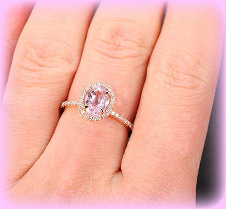 Kunzite Engagement Ring 1.15ct Oval Kunzite in a 14k Rose Gold Diamond Halo Setting - In The IceBox