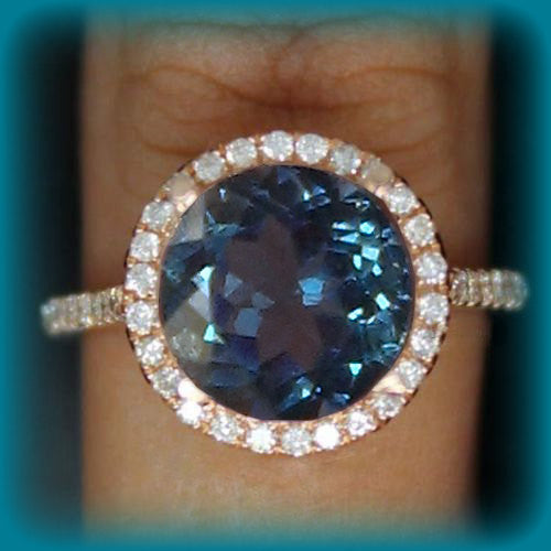 Topaz Engagement Ring 3ct Swiss Blue, London Blue or White in a 14k Rose Gold Diamond Halo Setting