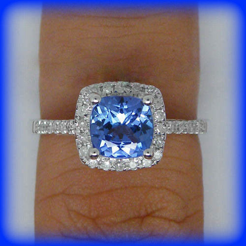 Tanzanite -  1.2ct Cushion Cut Tanzanite Vintage Engagement Ring in a 14K White Gold Diamond Halo Setting - In The IceBox