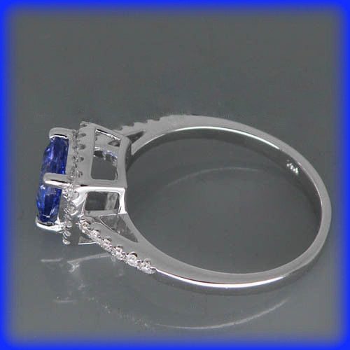 Tanzanite -  1.2ct Cushion Cut Tanzanite Vintage Engagement Ring in a 14K White Gold Diamond Halo Setting - The IceFox