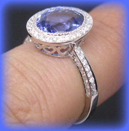 Vintage Engagement Ring 2.8ct Oval Tanzanite in a 14K White Gold Diamond Halo Setting
