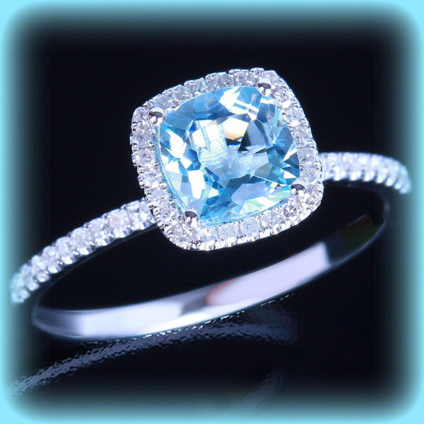 Aquamarine Engagement Ring 7mm Cushion Cut in a  Diamond Halo Setting 14K Wwhite Gold