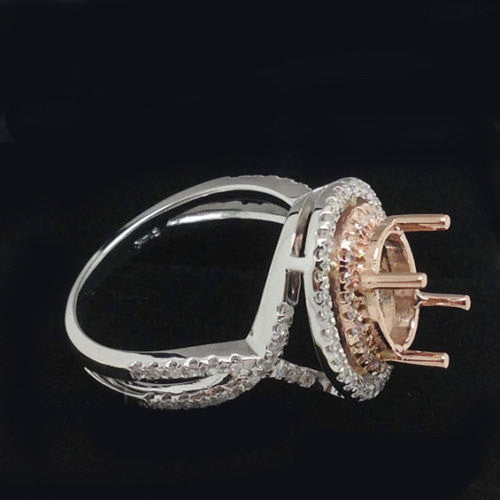 Sapphire Engagement Ring 2.5ct Oval 14k White and Rose Gold Two Toned Diamond Halo - In The IceBox