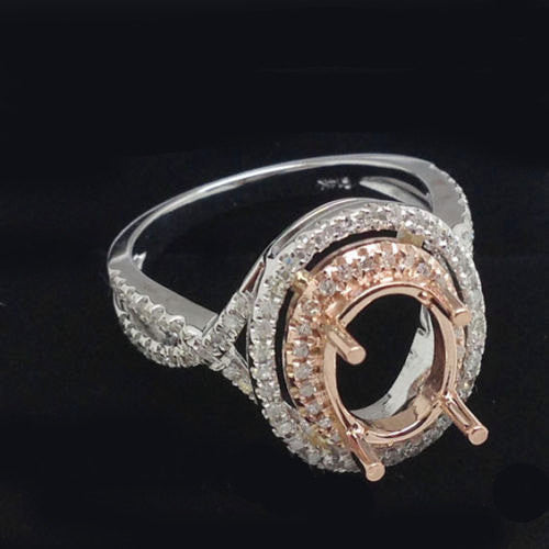 Aquamarine Engagement Ring 2.5ct Oval 14k White and Rose Gold Two Toned Diamond Halo