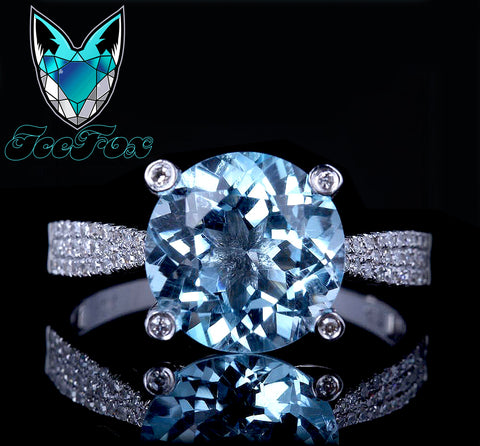 Topaz Engagement Ring 3.5ct Sky Blue Topaz in a 14k White Gold Diamond Prong Setting - In The IceBox