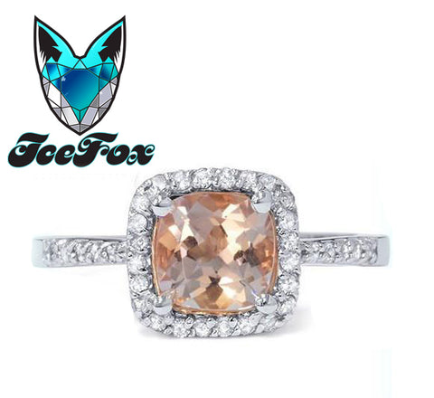 Morganite Vintage Engagement Ring 2.5ct Cushion Cut in a 14k White Gold Diamond Halo Setting - In The IceBox