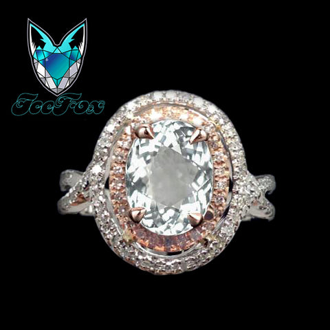 Aquamarine Engagement Ring 2.5ct Oval 14k White and Rose Gold Two Toned Diamond Halo - In The IceBox