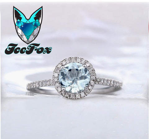 Aquamarine Engagement Ring 1.3ct, 7mm Round Cut in a  Diamond Halo Setting 14K White Gold - In The IceBox