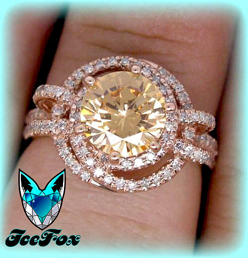 Morganite - Rare Round Champagne Morganite Engagement Ring in Diamond Double Halo Setting 14K Gold - In The IceBox