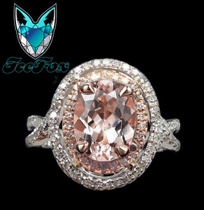 Morganite Engagement Ring 2.5ct Oval 14k White and Rose Gold Two Toned Diamond Halo - In The IceBox