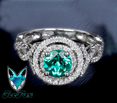Emerald Engagement Ring Round cut set in a 14k White gold double diamond halo twist shank setting - In The IceBox