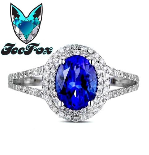 Tanzanite Engagement Ring 14K White Gold Tanzanite in a Diamond Halo Setting - In The IceBox