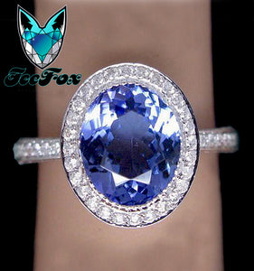 Tanzanite Engagement Ring 2.8ct Oval Tanzanite in a 14K White Gold Diamond Halo Setting - In The IceBox