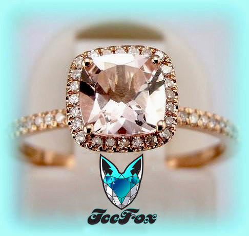 Morganite Engagement Ring cushion cut 10K Rose Gold, Halo - In The IceBox